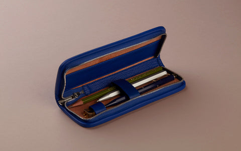 Blue Small leather pencil case