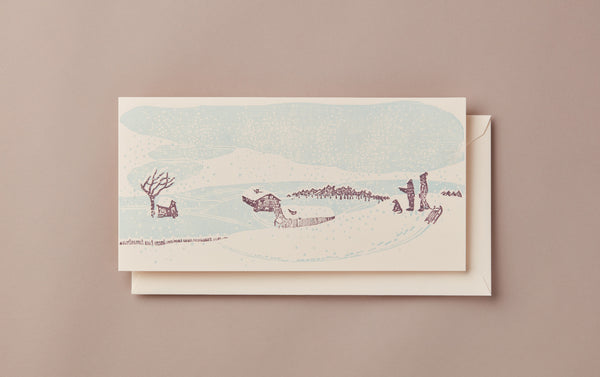 Woodblock Printed Winter Scene Card