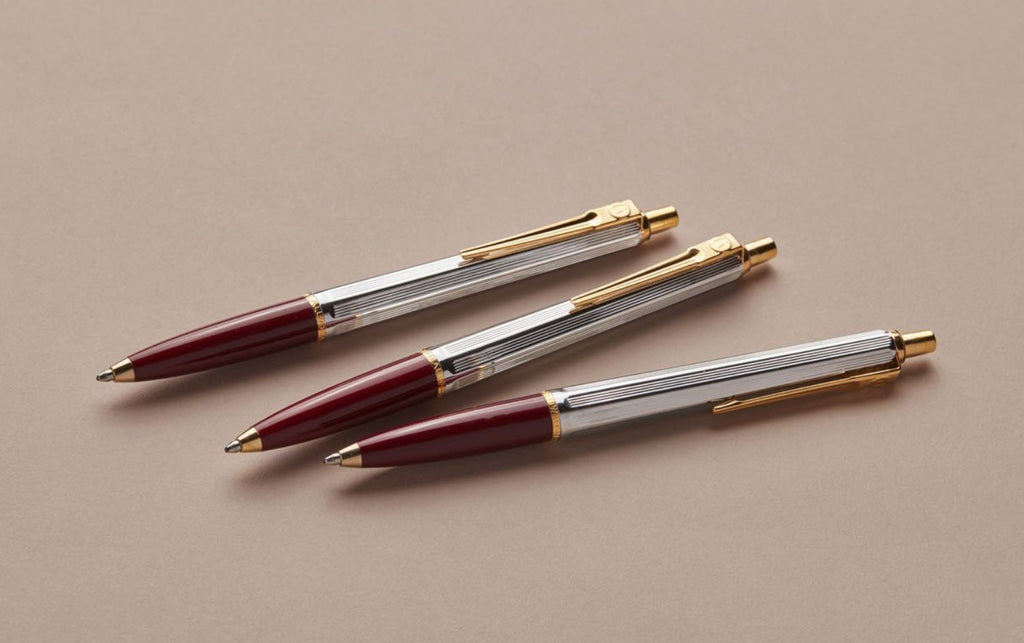 Chrome and Gold Swedish Postwar 1945 Ballpoint Pen, Burgundy