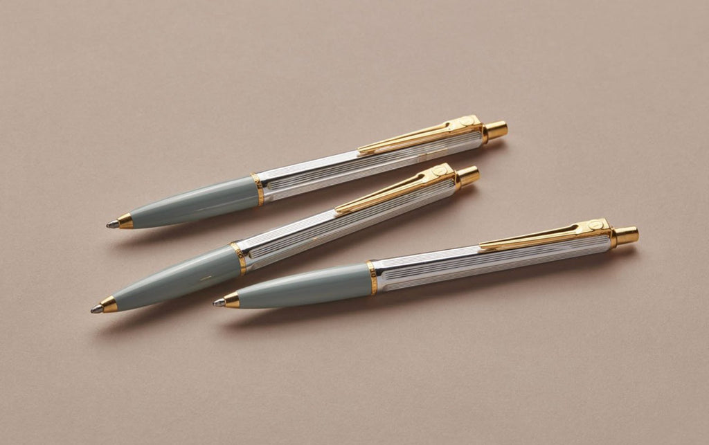 Chrome and Gold Swedish Postwar 1945 Ballpoint Pen, Green