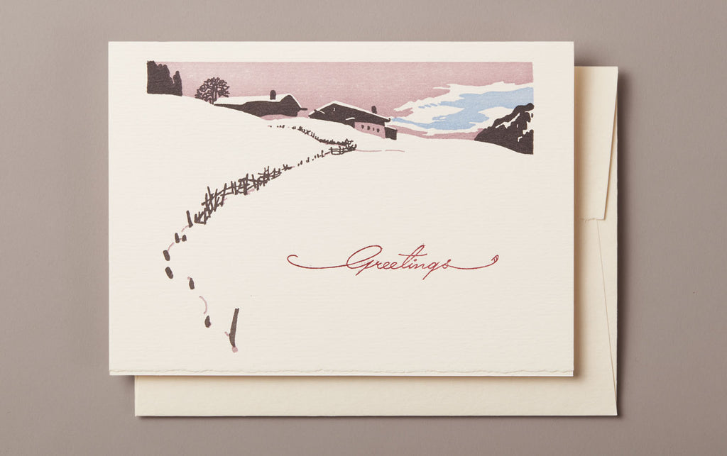 Letterpress Ski Lodge Greetings Christmas Card