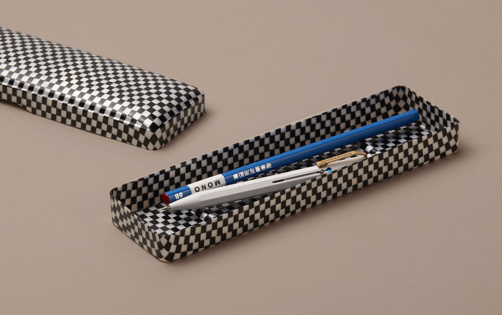 Large Checkered Celluloid Pen Case
