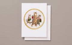 Engraved Christmas Cats Card, No 3