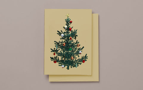 Engraved Gold Christmas Tree Card
