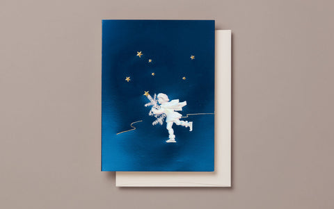 Engraved Blue Angel Christmas Card