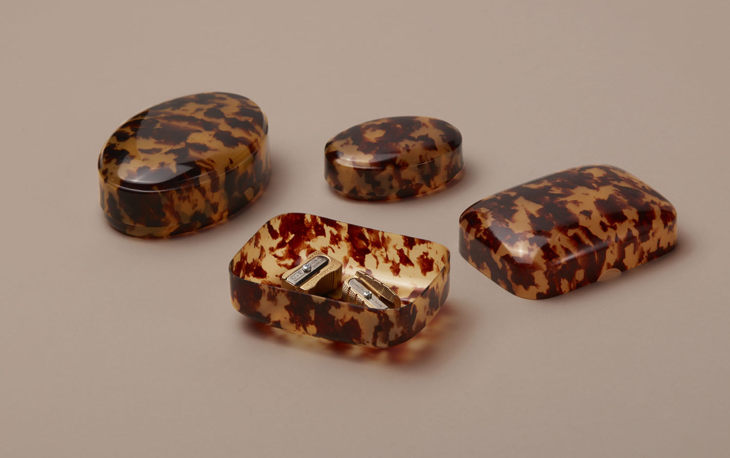 Tortoise Shell Celluloid Trinket Boxes Assorted Shapes Choosing Keeping