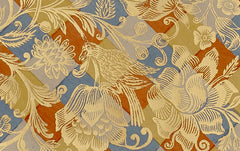 J Jeffery Paper, Gold Birds and Flowers Pattern