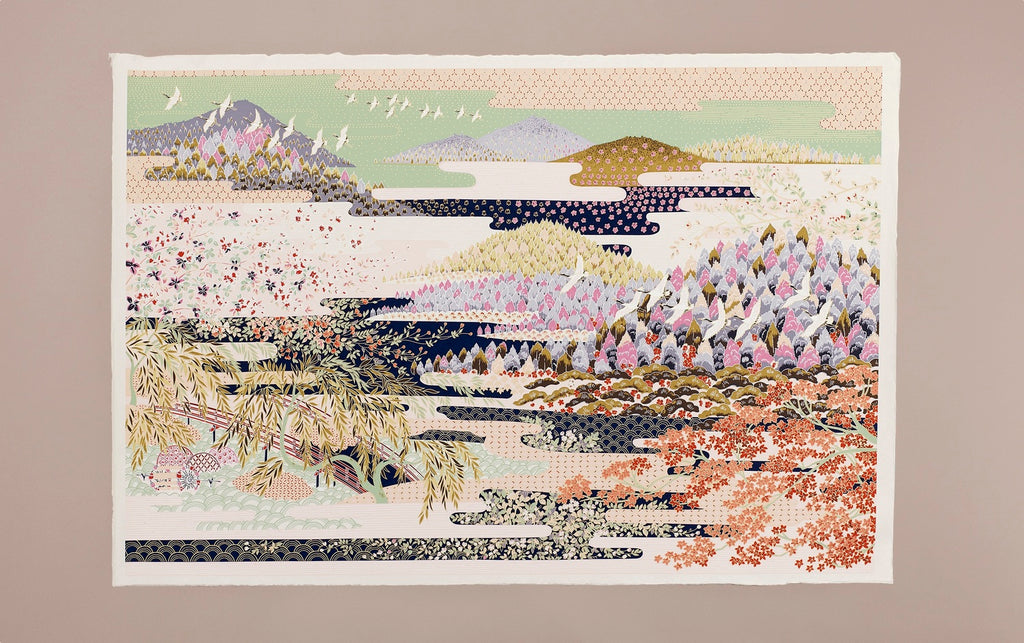 Full-Panel Chiyogami Silk Screen Print, Mountains