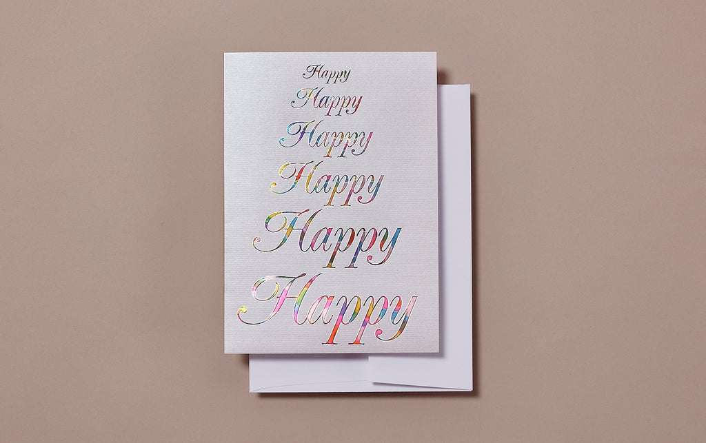 Engraved Happy Happy Happy Birthday Greeting Card