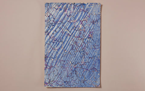 Hand marbled Paper Sheet, Cornflower Blue Spanish Ripple