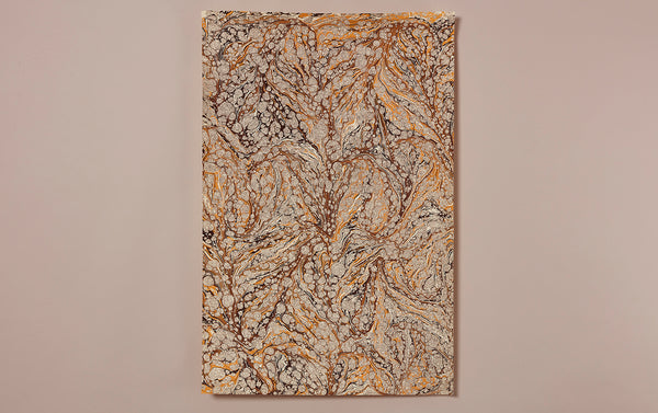 Hand Marbled Paper Sheet, Yellow and Brown Vein