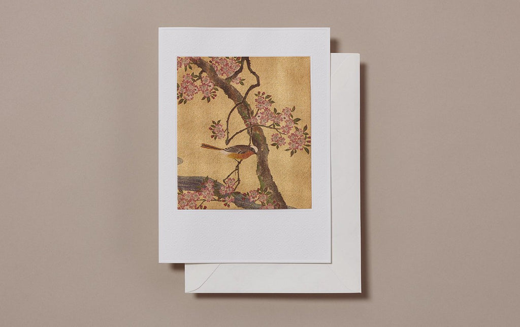 Large Gold Foil Bird on a branch Greeting Card