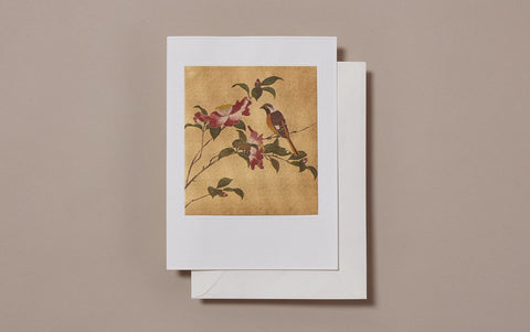 Large Gold Foil Bird and Camellias Greeting Card