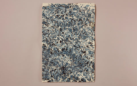 Hand marbled Paper Sheet, Blue Splash