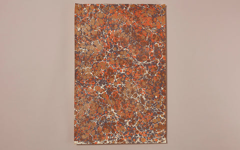 Hand marbled Paper Sheet, Orange Spot