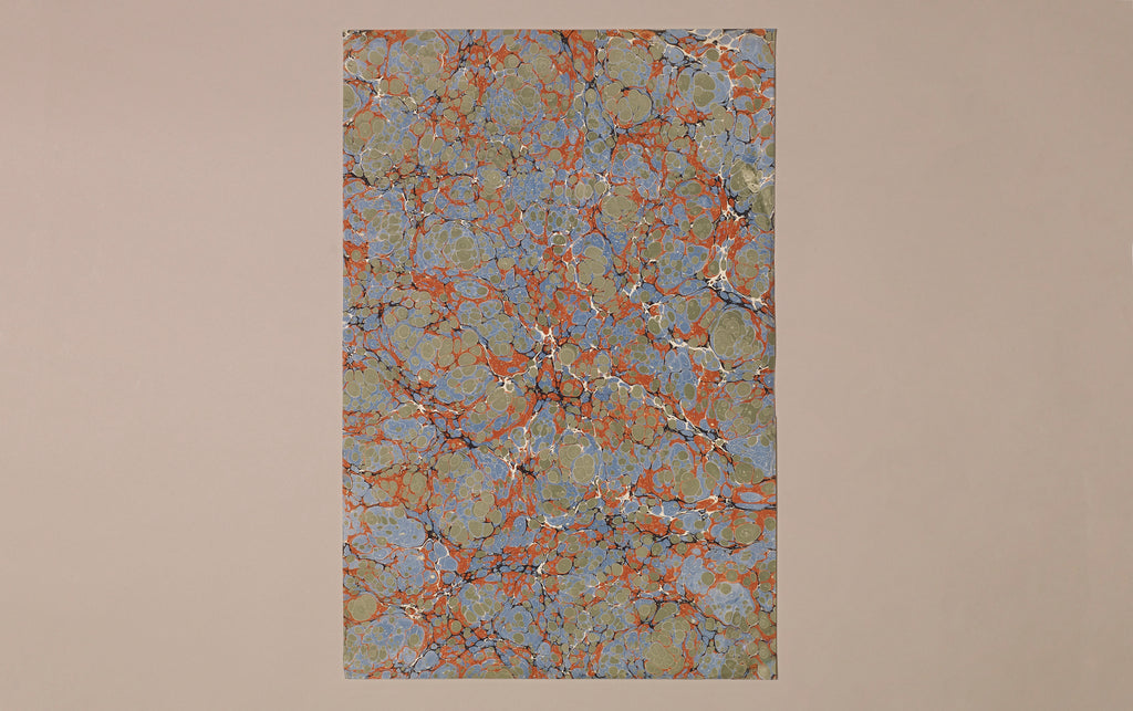 Hand marbled Paper Sheet, Forest