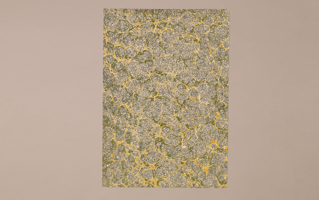 Hand marbled Paper Sheet, Green and Yellow Cells