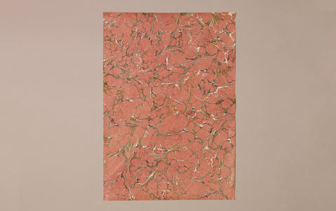 Hand marbled Paper Sheet, Raspberry