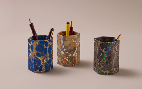 Hexagonal Marbled Pen Pot, pattern selection 1