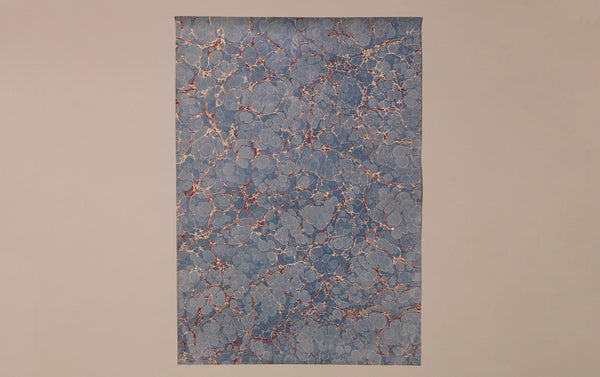 Hand Marbled Paper Sheet, Blue Cells