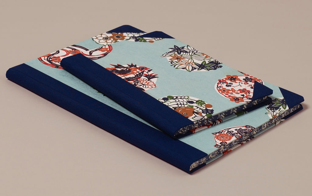 "Hardback ""Composition Ledger"" Katazome Notebook, Floral Circles"