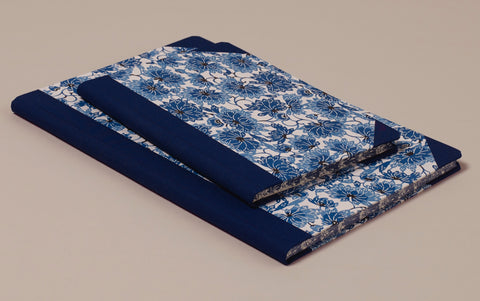 "Hardback ""Composition Ledger"" Katazome Notebook, Blue Chrysanthemums"