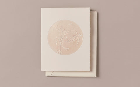 Engraved Butterflies and Bamboo Greeting Card