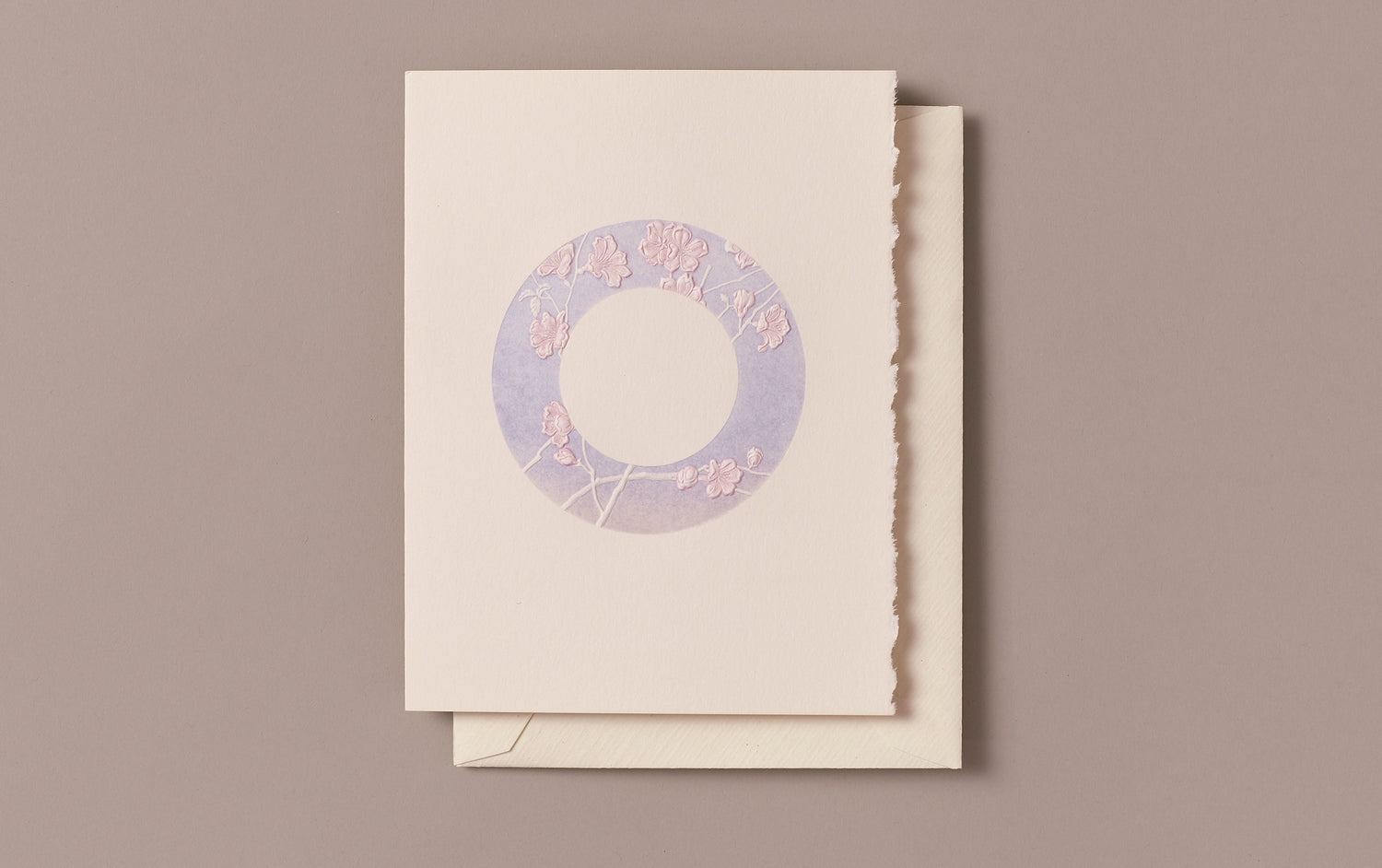 Engraved Blue Cherry Blossoms Greeting Card