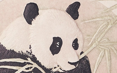 Hand engraved Panda Greeting Card