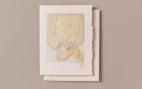 Hand engraved polar bear and buttercups Greeting Card
