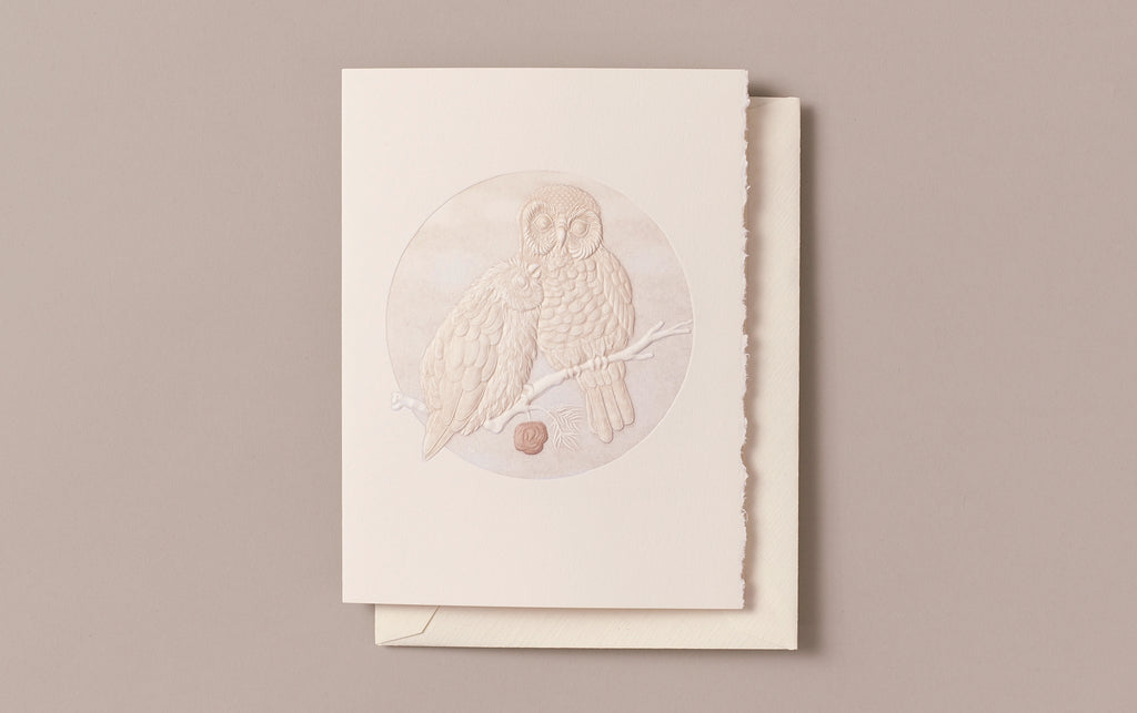 Hand engraved Owl Love Greeting Card