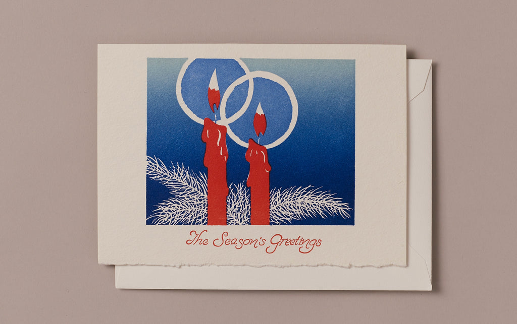Letterpress Smooth Candle Greetings Christmas Card