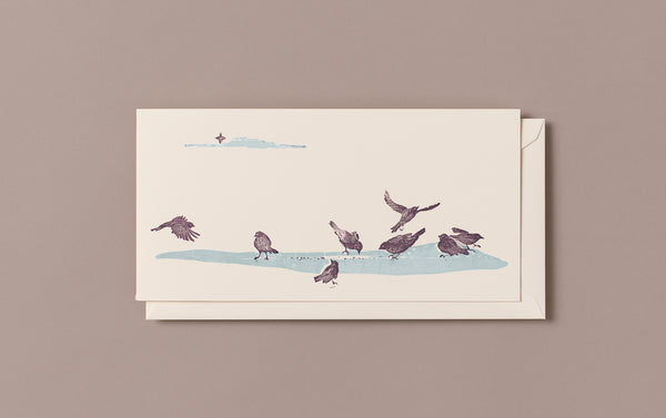 Woodblock Printed Winter Scene Card, Birds