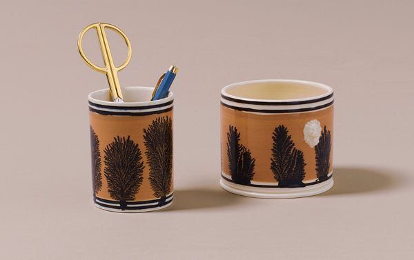 Persimmon Mochaware Ceramic Pen Pot, 'Seaweed'