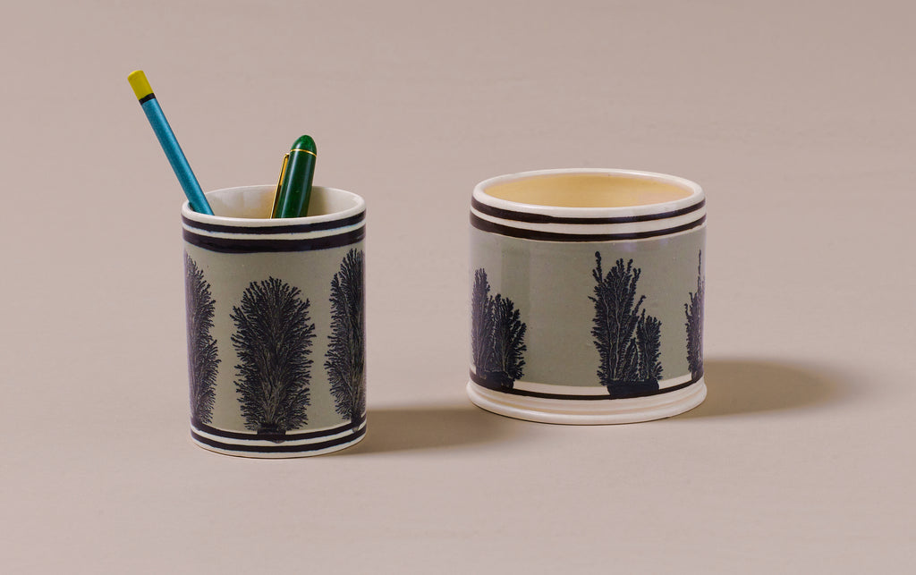 Duck Egg Mochaware Ceramic Pen Pot, 'Seaweed'