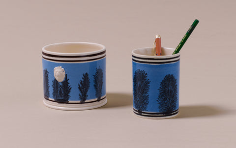 Blue Mochaware Ceramic Pen Pot, 'Seaweed'