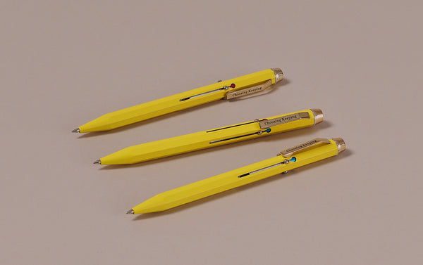 Yellow Metal 4 Colour Ballpoint Pen