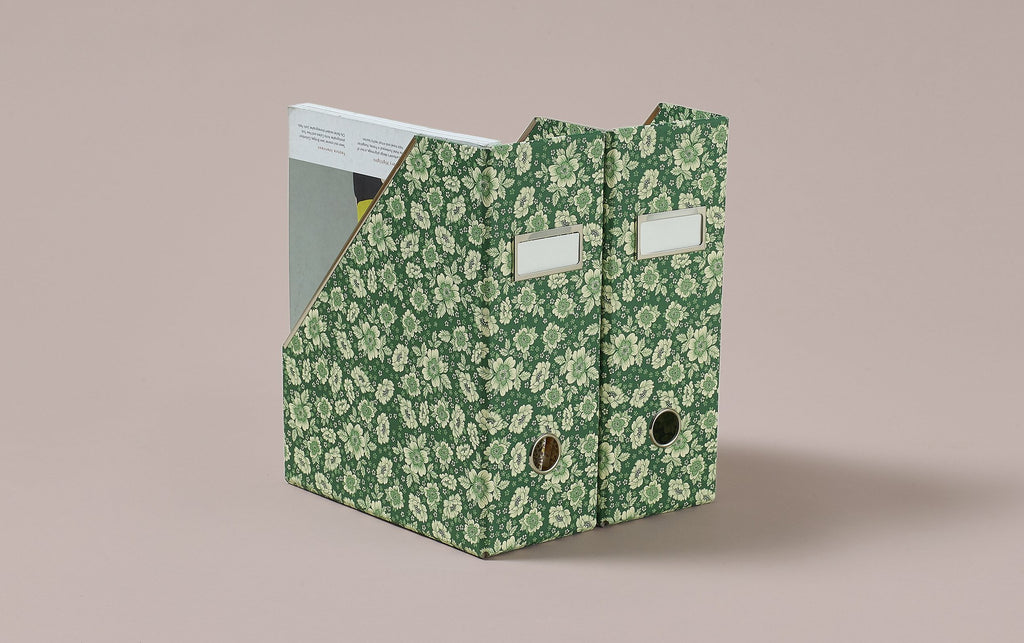 Floral Print Magazine File, Green