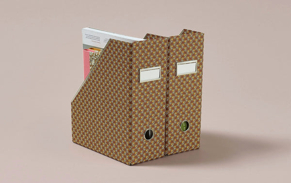 Floral Print Magazine File, Brown Apples