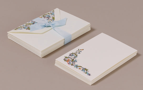 "10 Cards and Envelopes - Letter Writing Set ""Blue Florentine"""