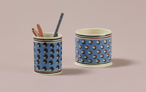 Blue Mochaware Ceramic Pen Pot, 'Cat Eye'