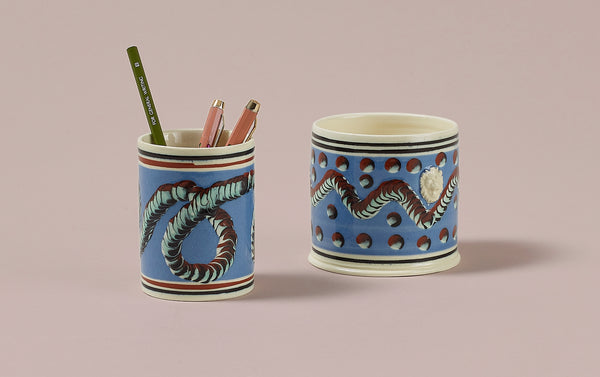 Blue Mochaware Ceramic Pen Pot, 'Earth Worm'