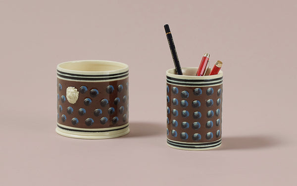 Brown Mochaware Ceramic Pen Pot, 'Cat Eye'