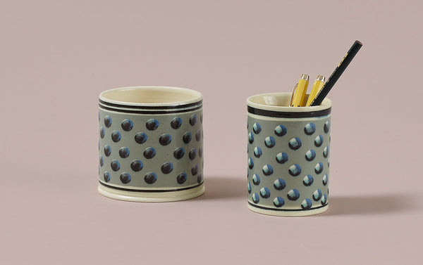 Duck Egg Mochaware Ceramic Pen Pot, 'Cat Eye'