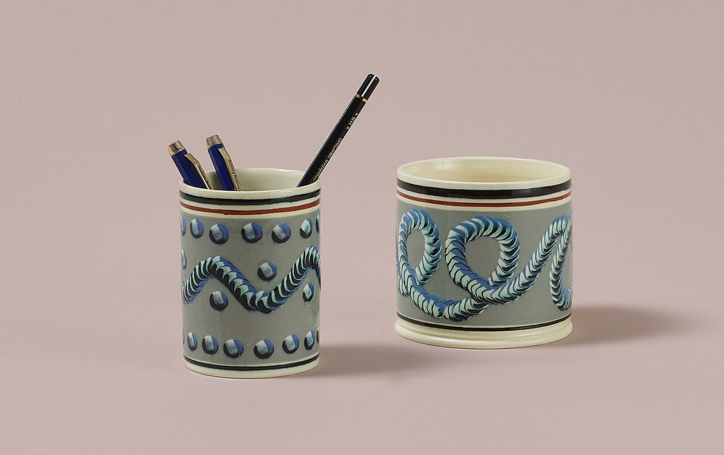 Duck Egg Mochaware Ceramic Pen Pot, 'Earth Worm'