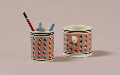Persimmon Mochaware Ceramic Pen Pot, 'Cat Eye'