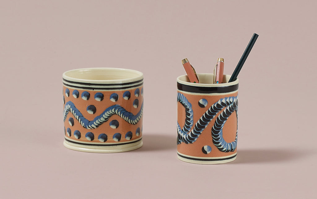 Persimmon Mochaware Ceramic Pen Pot, 'Earth Worm'