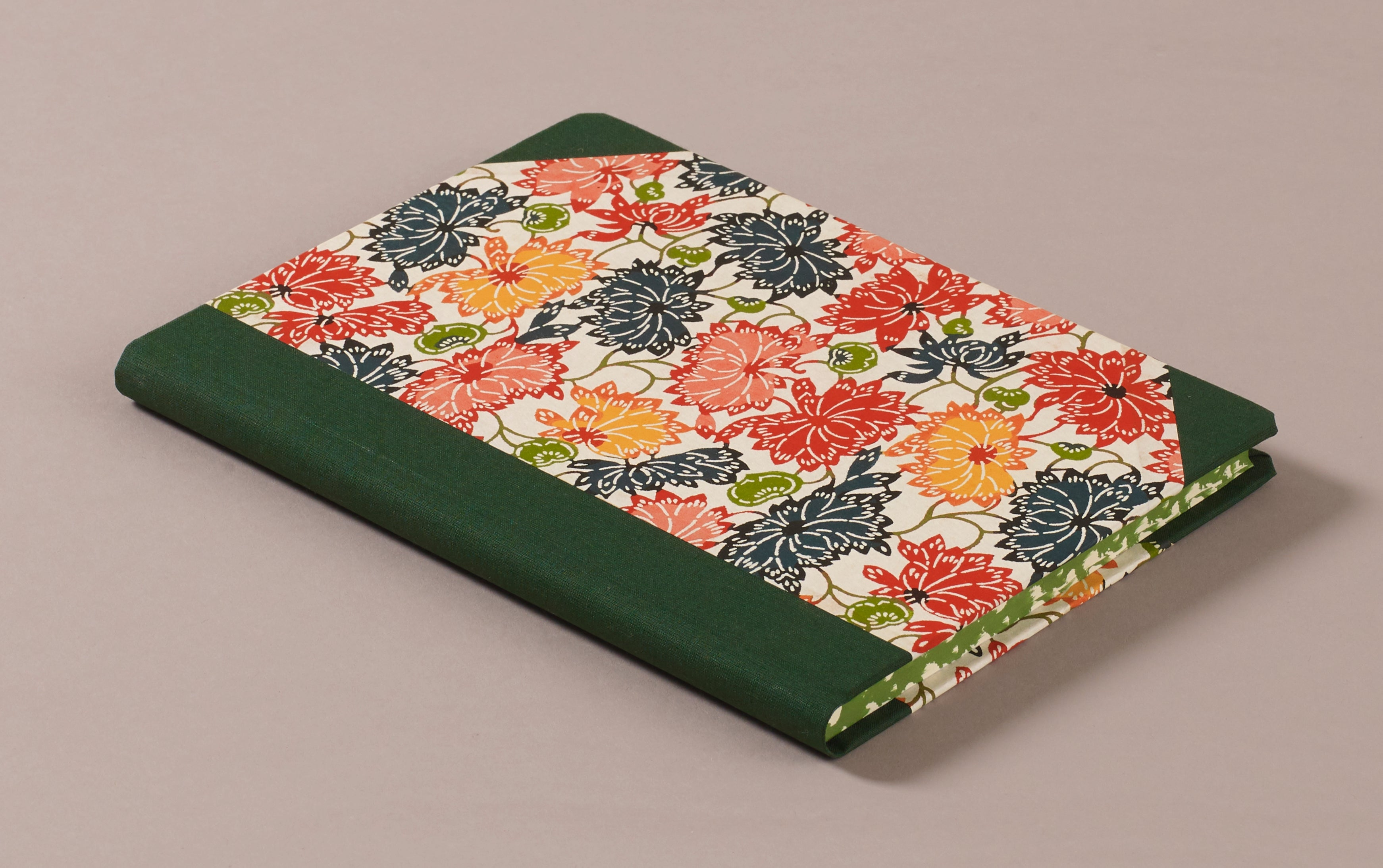 "Hardback ""Composition Ledger"" Katazome Notebook, Green and Red Chrysanthemums"