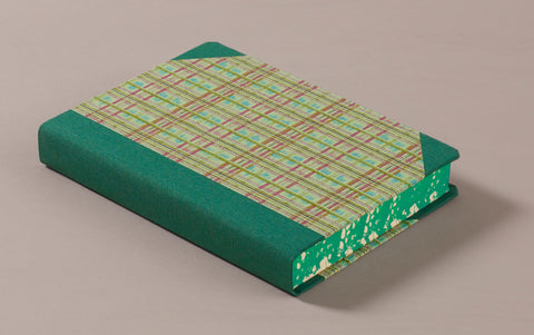 "Extra-Thick ""Composition Ledger"" Chiyogami Notebook, Green Tartan"