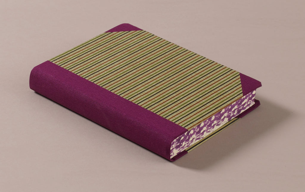 "Extra-Thick ""Composition Ledger"" Chiyogami Notebook, Purple Stripes"